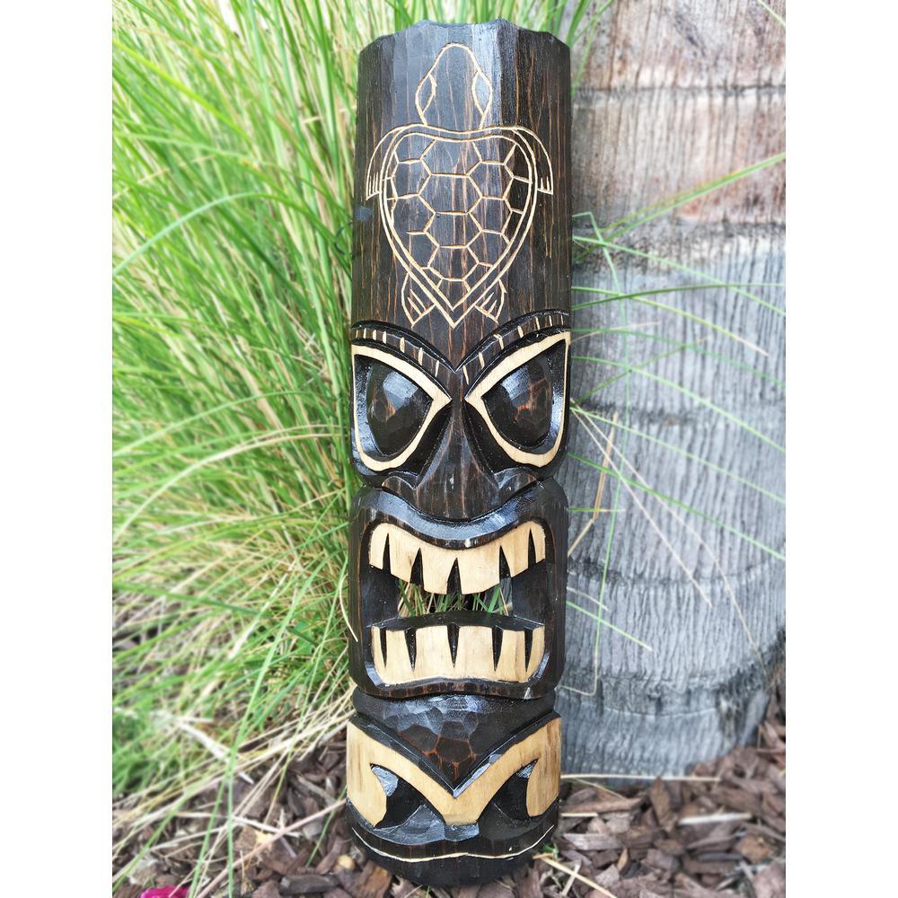 20 in. Tiki Mask Hawaiian Turtle Hand-Carved Wood Garden Decoration