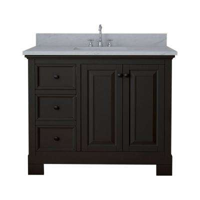 Richmond 42 in. W x 22 in. D Bath Vanity in Espresso with Marble Vanity Top in White with White Basin