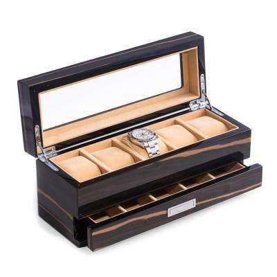 12 in. D x 5.15 in. H x 4.25 in. W Wood Watch Case in Ebony