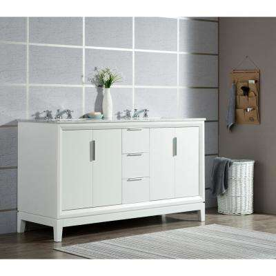 Elizabeth 60 in. Pure White With Carrara White Marble Vanity Top With Ceramics White Basins