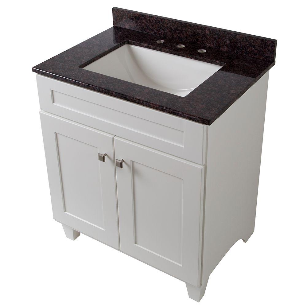 Home Decorators Collection Creeley 31 in. Vanity in Classic White with Stone Effects Vanity Top in Tan Brown