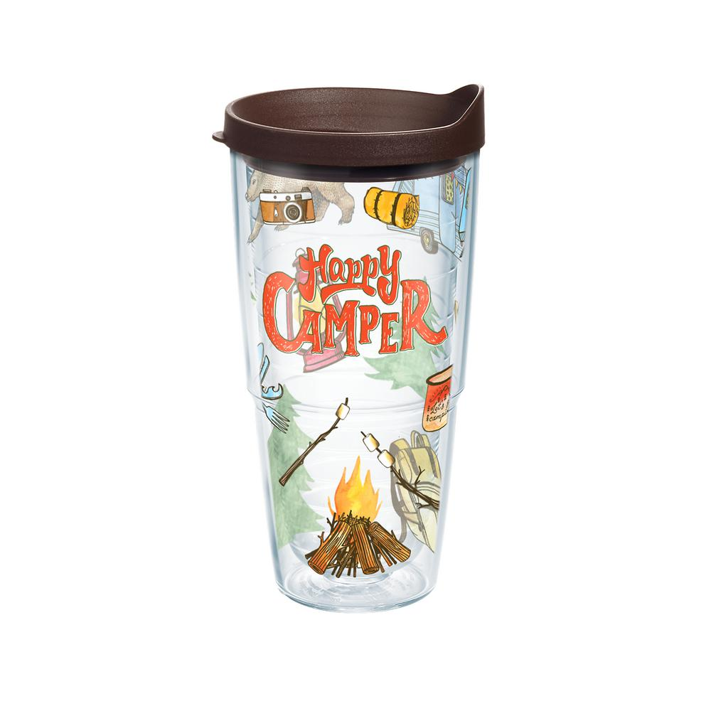 Happy Camper 24 oz. Double Walled Insulated Tumbler with Travel Lid