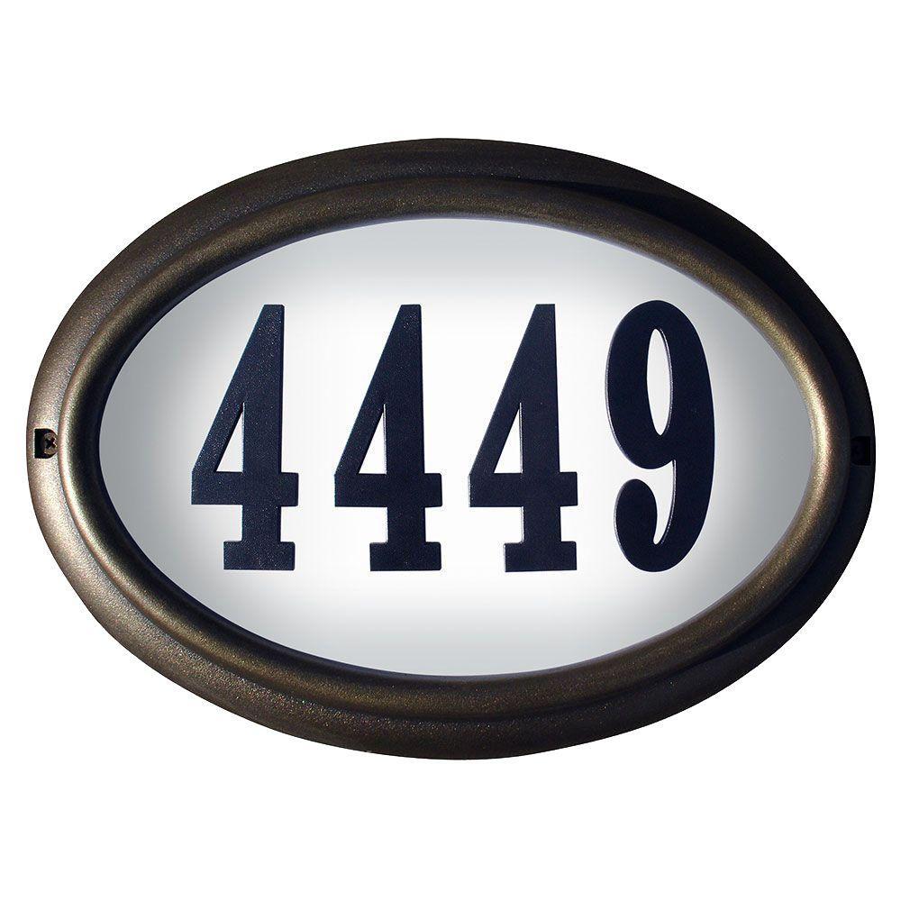 QualArc Edgewood Oval Aluminum Lighted Address Plaque