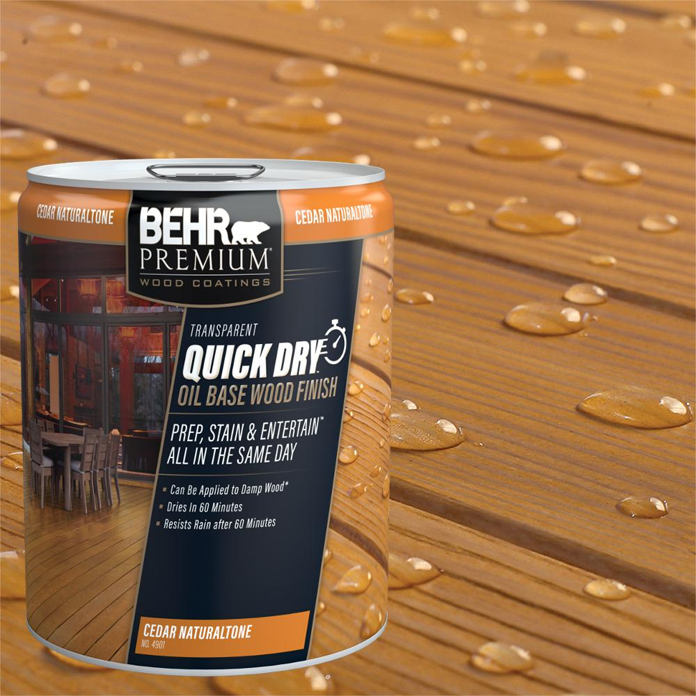 Behr Premium 5 Gal Transparent Quick Dry Oil Base Wood