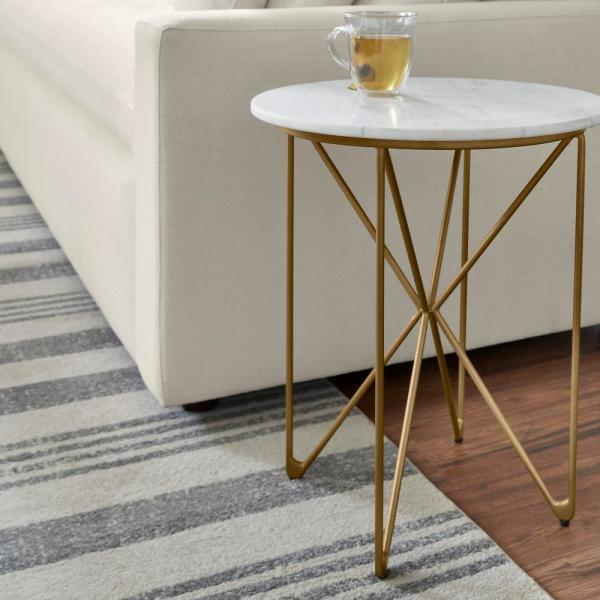 Home Decorators Collection - Round Accent Table With Gold Finish Wire Base And Natural Marble Top