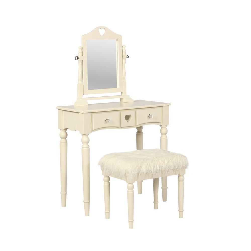 Linon Home Decor Sadie 2 Piece White Youth Vanity Set Thd01980 The