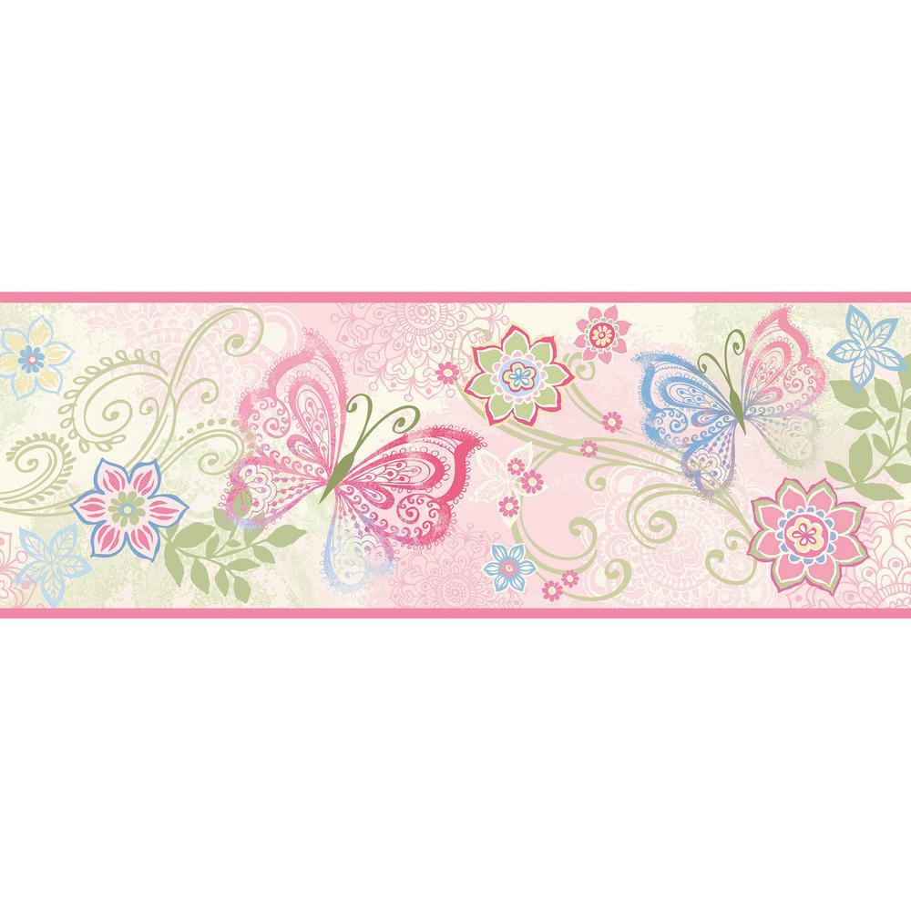 Fantasia Pink Boho Butterflies Scroll Pink Wallpaper Border Sample