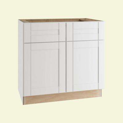 Vesper White Shaker Assembled Plywood 36 in. x 34.5 in. x 24 in. Sink Base Kitchen Cabinet with Soft Close