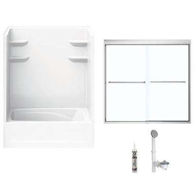60 in. x 42 in. x 82 in. Bath and Shower Kit with Left-Hand Drain and Door in White and Chrome Hardware