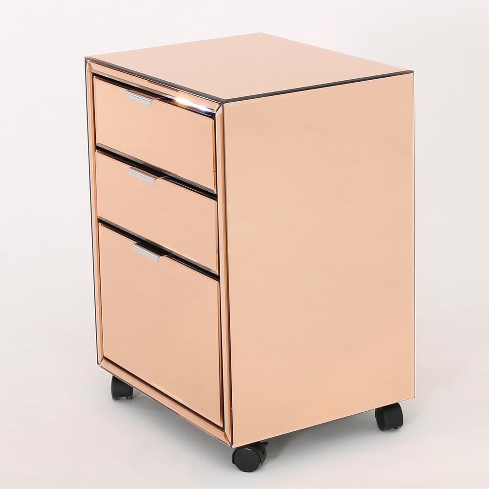 Winnie Mirrored 3 Drawer File Cabinet