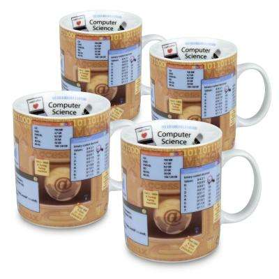 Konitz 4-Piece Mugs of Knowledge Computer Science Porcelain Mug Set