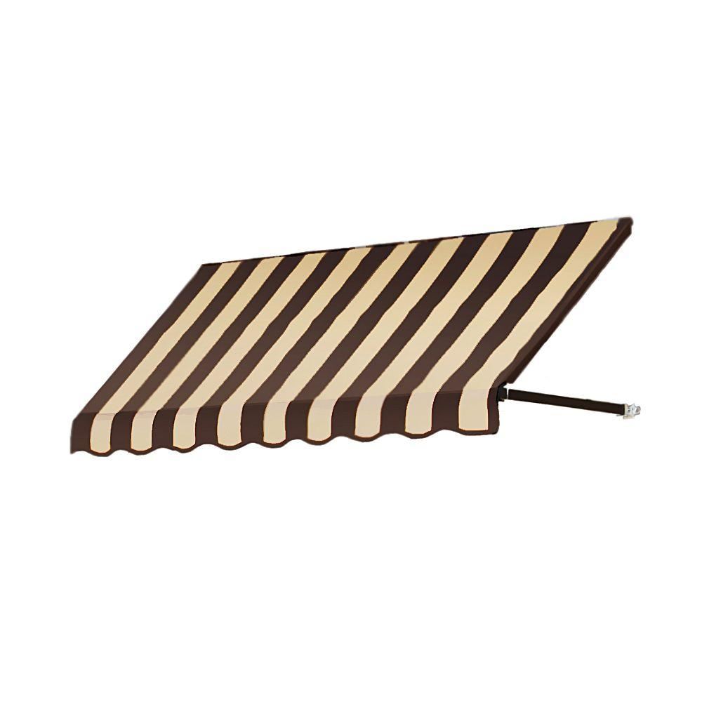 AWNTECH 35 ft. Dallas Retro Window/Entry Awning (44 in. H x 24 in. D) in Brown / Tan Stripe