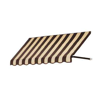 5 ft. Dallas Retro Window/Entry Awning (56 in. H x 48 in. D) in Brown / Tan Stripe