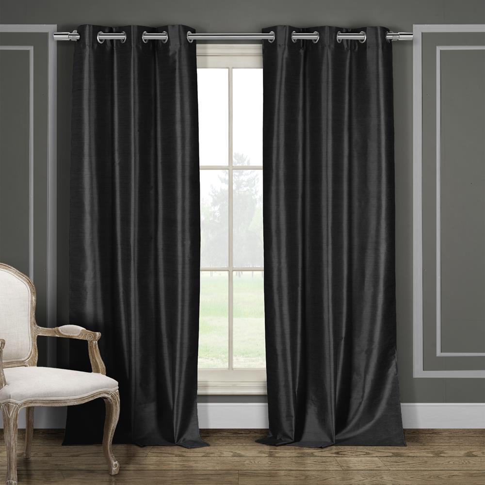 Duck River Daenerys 38 in. x 96 in. L Polyester Faux Silk Curtain Panel in Black (2-Pack)