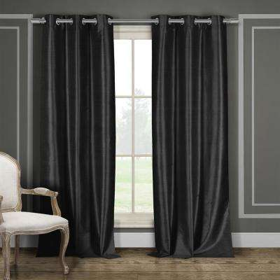 Daenerys 38 in. x 96 in. L Polyester Faux Silk Curtain Panel in Black (2-Pack)