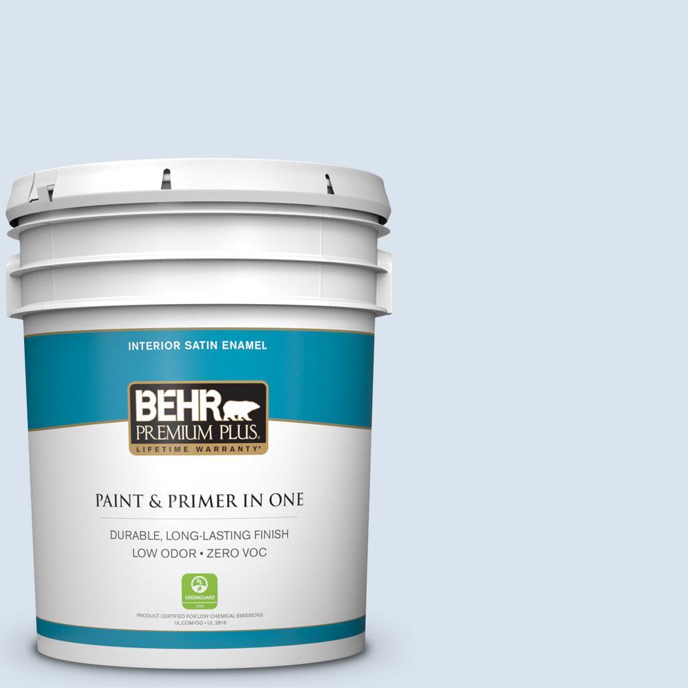 BEHR Premium Plus 5-gal. #590A-1 Icelandic Zero VOC Satin Enamel Interior Paint