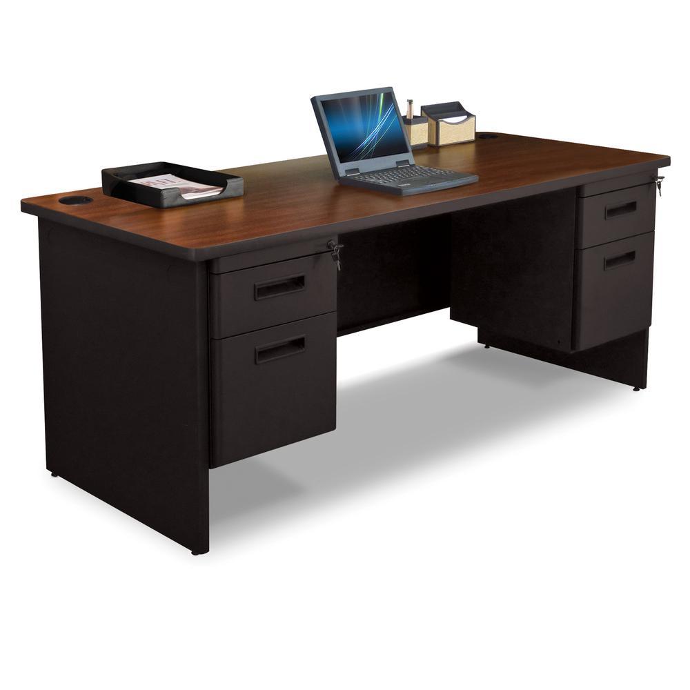 D Mahogany Laminate And Black Double Pedestal Desk