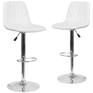 Swell 33 25 In White Bar Stool Set Of 2 Machost Co Dining Chair Design Ideas Machostcouk