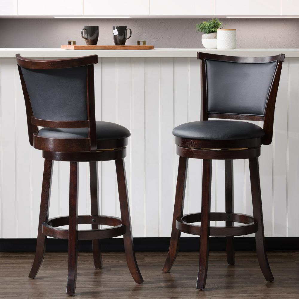 Coffee Bar Stools: CorLiving Woodgrove 29 In. Wood Swivel Barstools With