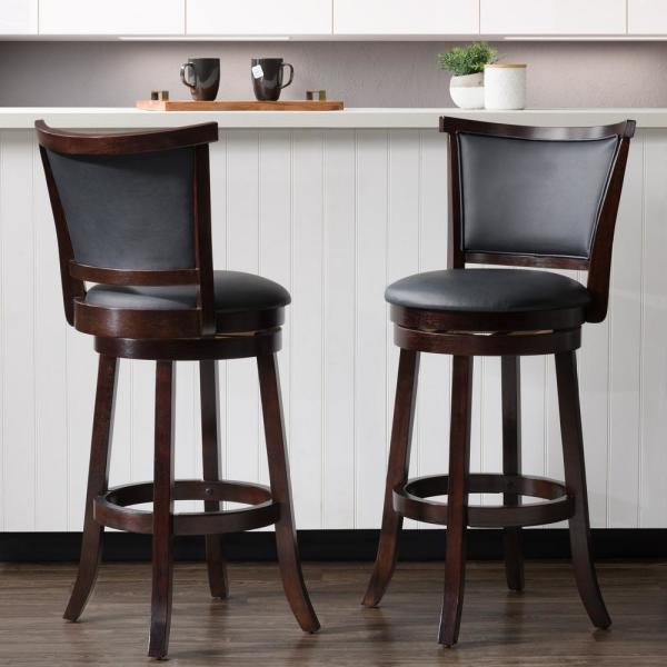 CorLiving Woodgrove 29 in. Wood Swivel Barstools with Black Bonded Leather