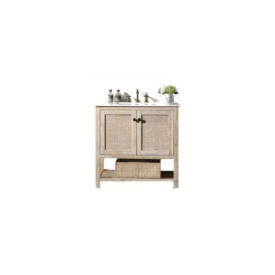 36 in. White wash Vanity with White Marble Top with White Basin