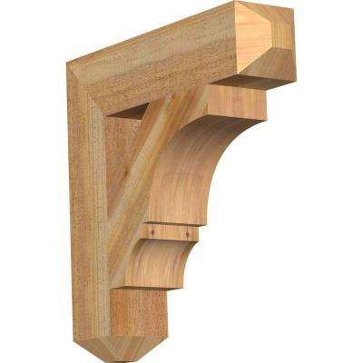 4 in. x 18 in. x 18 in. Western Red Cedar Balboa Craftsman Rough Sawn Bracket