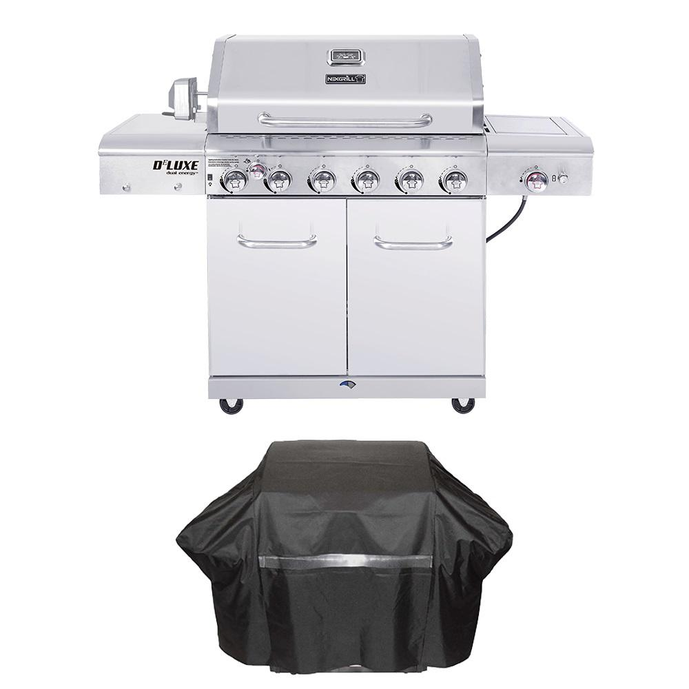 Nexgrill Deluxe 6-Burner Propane Gas Grill in Stainless Steel with Ceramic Searing Side and Rotisserie Burner Plus Grill Cover
