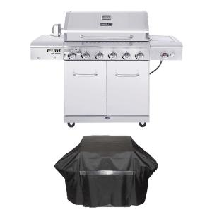 Nexgrill Deluxe 6-Burner Propane Gas Grill in Stainless Steel with Ceramic Searing Side and Rotisserie Burner Plus Grill Cover by Nexgrill