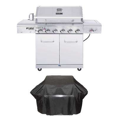 Deluxe 6-Burner Propane Gas Grill in Stainless Steel with Ceramic Searing Side and Rotisserie Burner Plus Grill Cover