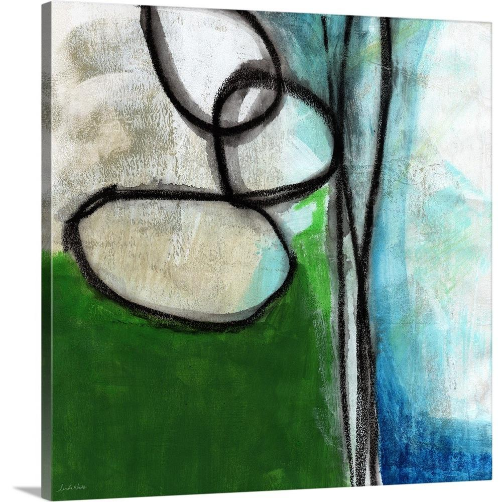 Green And Blue Abstract By Linda Woods Canvas Wall Art