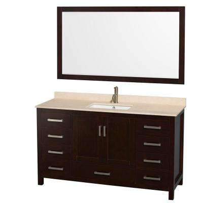 Sheffield 60 in. Vanity in Espresso with Marble Vanity Top in Ivory and 58 in. Mirror