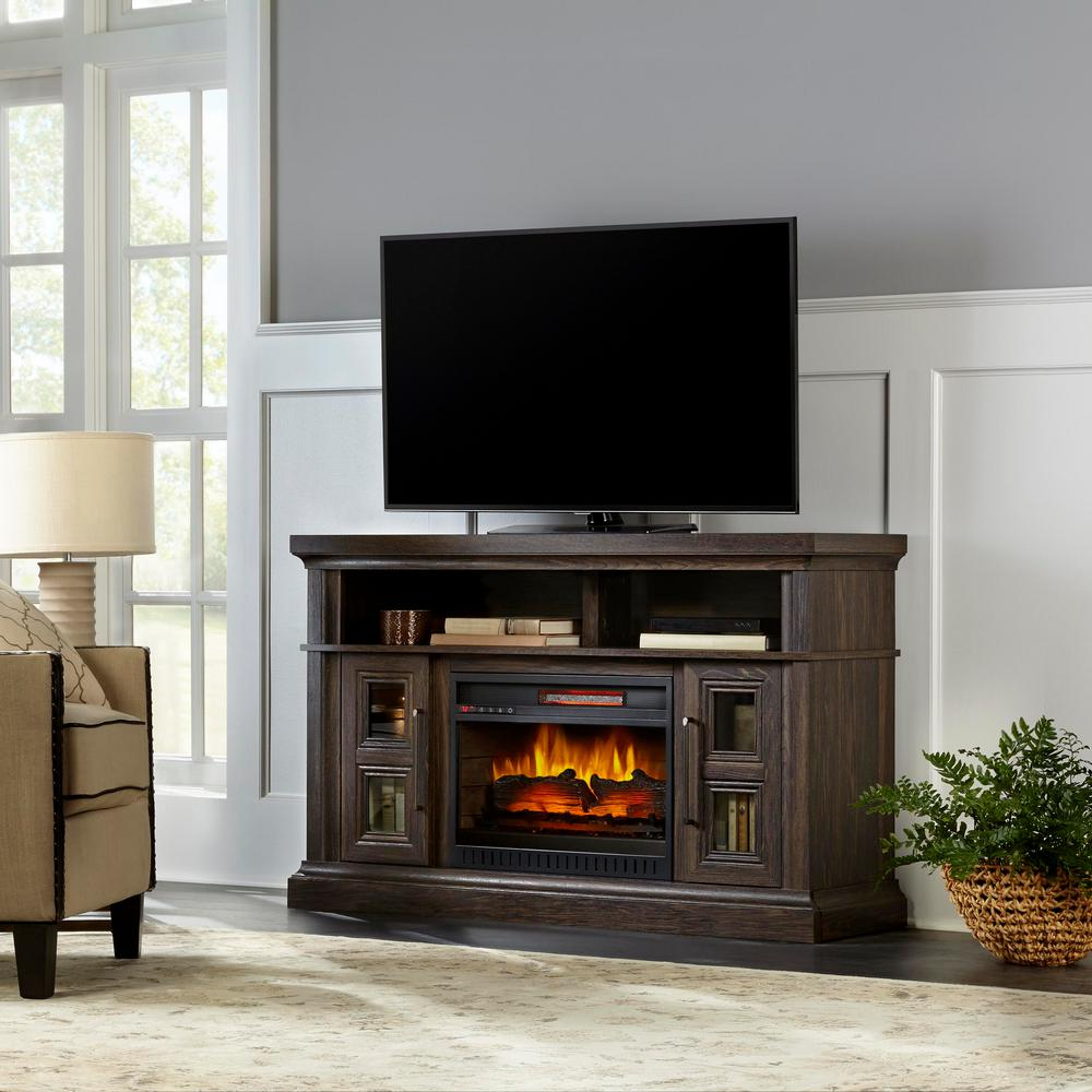 HomeDecoratorsCollection Home Decorators Collection Appling 54in Media Console Infrared Electric Fireplace in Warm Deep Grain Ash Finish