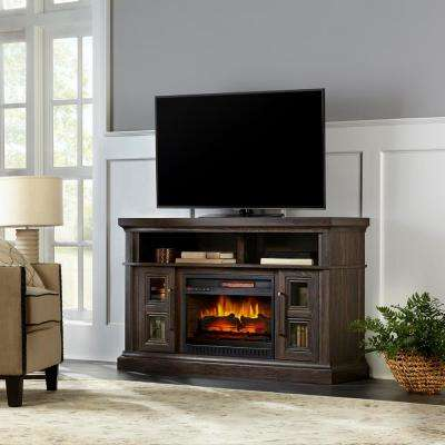 Appling 54in Media Console Infrared Electric Fireplace in Warm Deep Grain Ash Finish