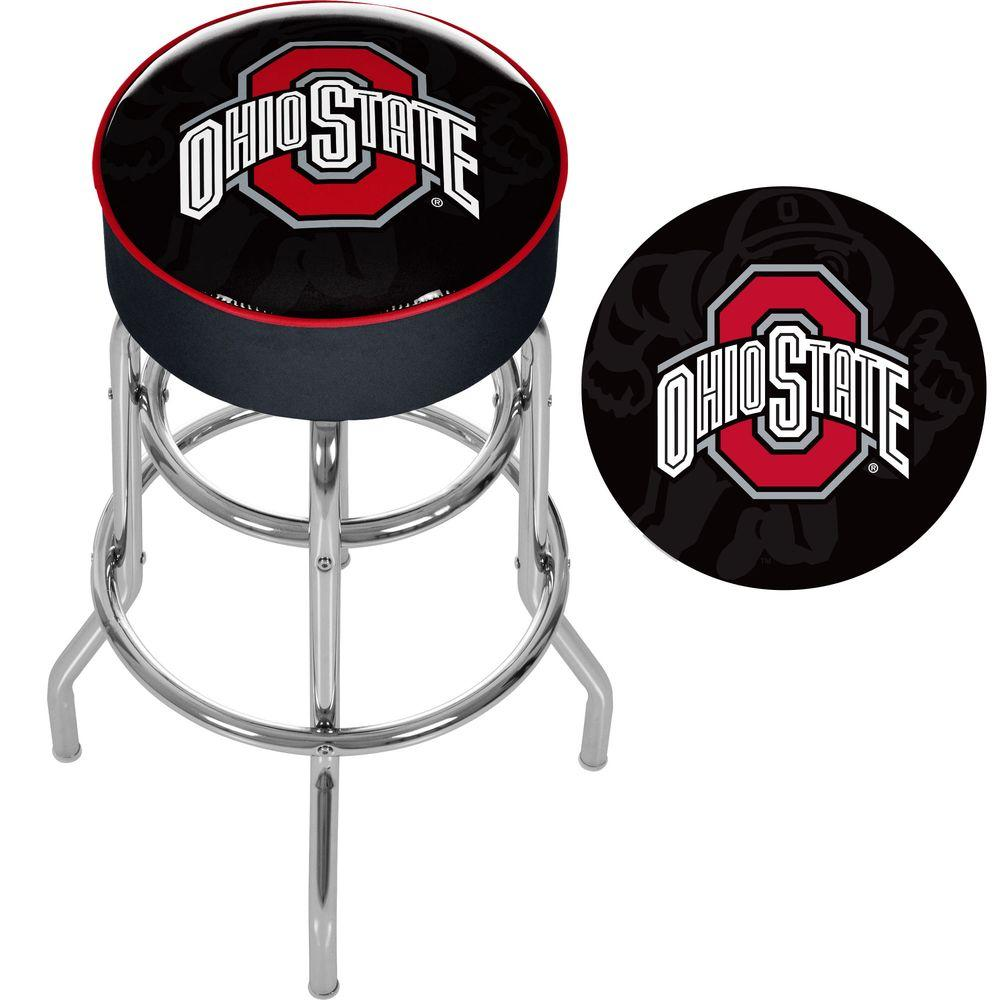 Surprising Ohio State Shadow Brutus 31 In Chrome Padded Swivel Bar Stool Machost Co Dining Chair Design Ideas Machostcouk