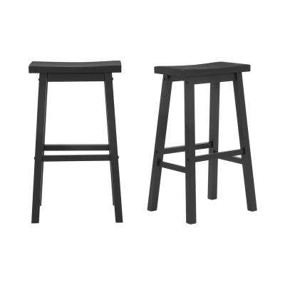 StyleWell Black Wood Saddle Backless Bar Stool (Set of 2) (16.33 in. W x 29 in. H)