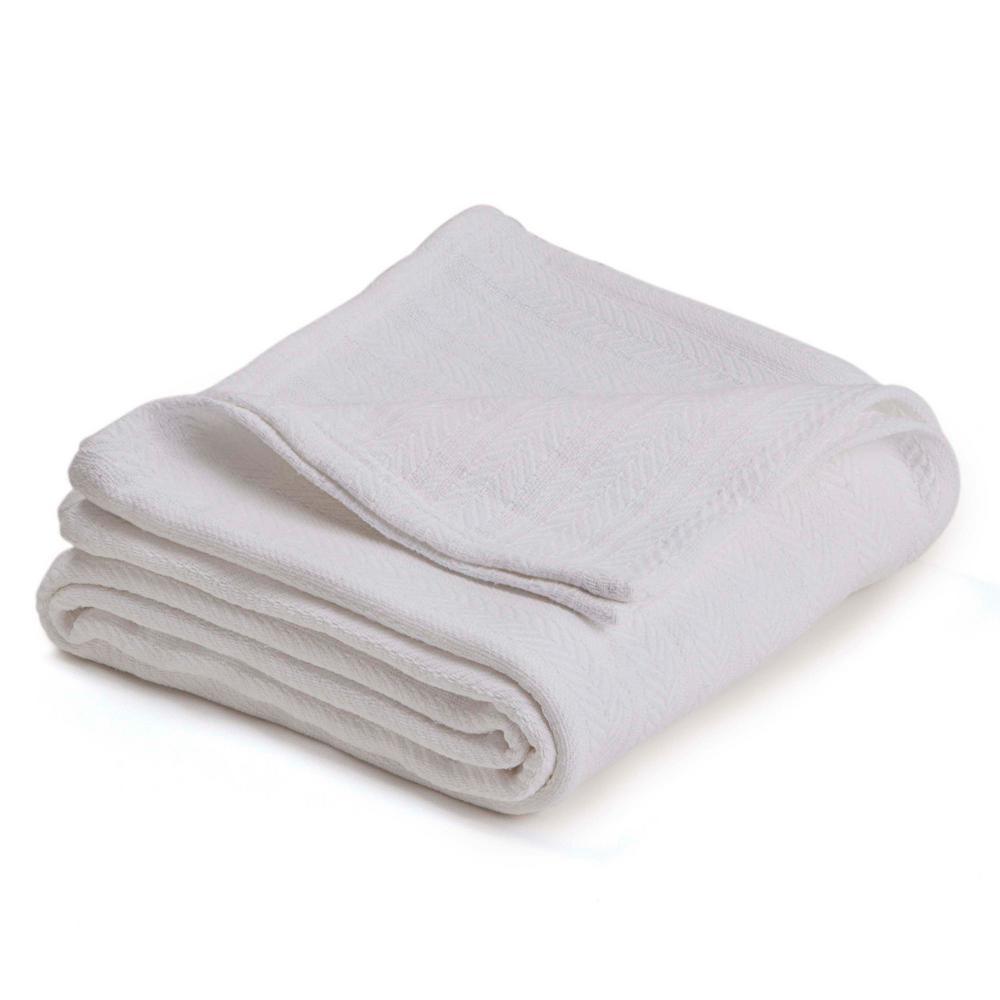 Woven White Cotton Twin Blanket