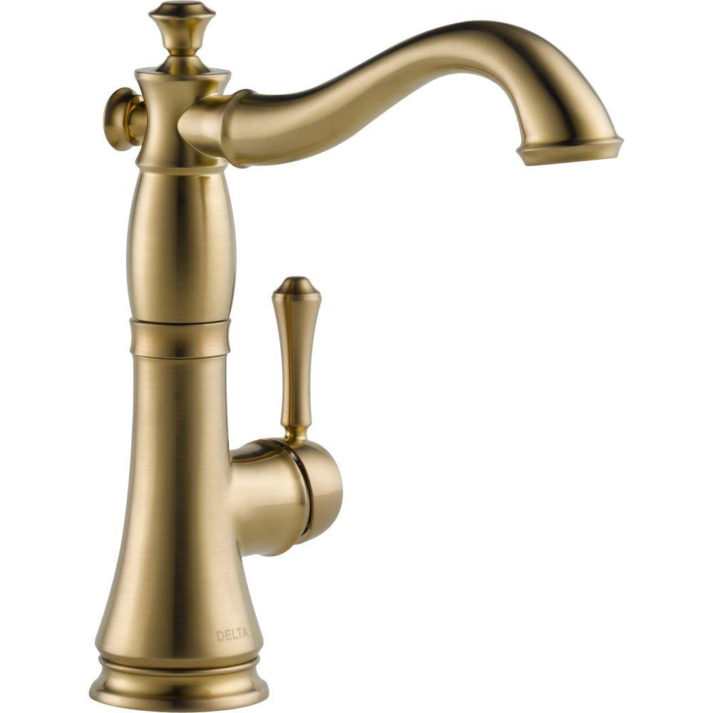 Delta Cassidy Single Handle Bar Faucet In Champagne Bronze 1997lf Cz The Home Depot