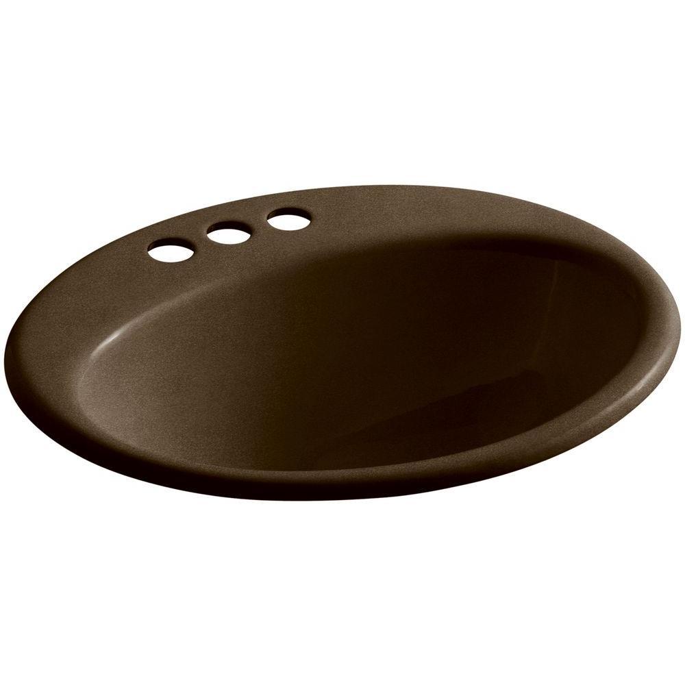 Farmington Drop-In Cast Iron Bathroom Sink in Black 'n Tan with