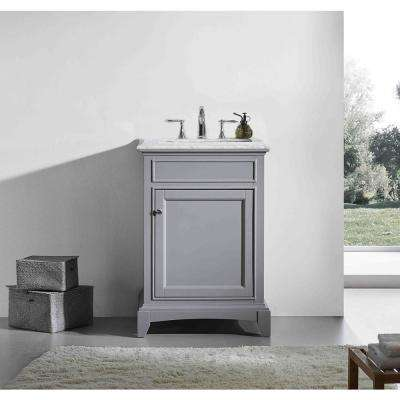 Elite Stamford 24 in. W x 23.5 in. D x 36 in. H Vanity in Gray with Carrera Marble Top in White with White Basin