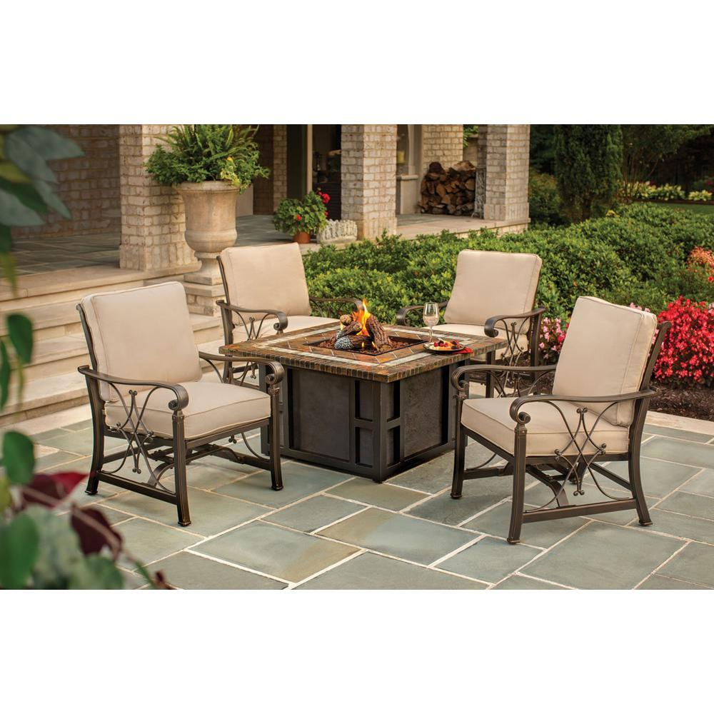 Fire Sense Danang 45 in. Square Aluminum LPG Fire Pit Table with ...