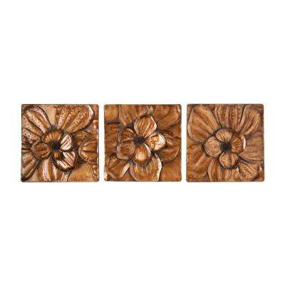 10 in. x 10 in. Magnolia Wall 3-Piece Metal Wall Hanging Set