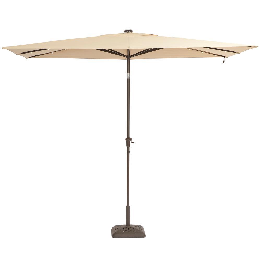 Hampton Bay 10 Ft X 6 Ft Aluminum Solar Patio Umbrella In Cafe