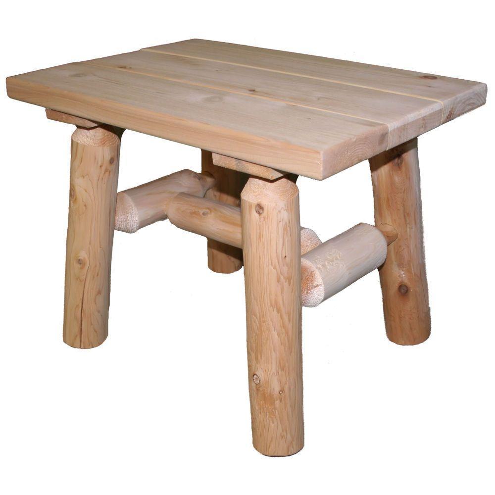 23 in. x 17 in. Cedar Log Patio End Table