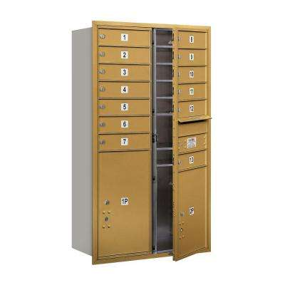 3700 Series 48 in. 13 Door High Unit Gold Private Front Load 4C Horizontal Mailbox with 13 MB1 Doors/1 PL5/1 PL6