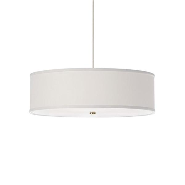 Mulberry 1-Light Satin Nickel Pendant with White Fabric Shade