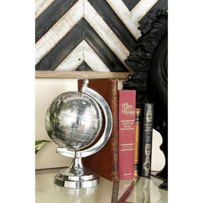 10 in. x 7 in. Modern Decorative Globe in Polished Silver