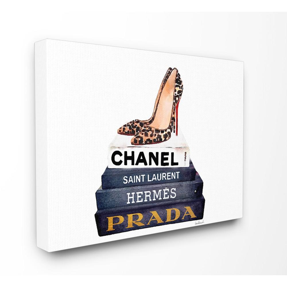 "24 in. x 30 in. ""Glam Fashion Book Set Leopard Pumps Heels"" by Amanda Greenwood Printed Canvas Wall Art"