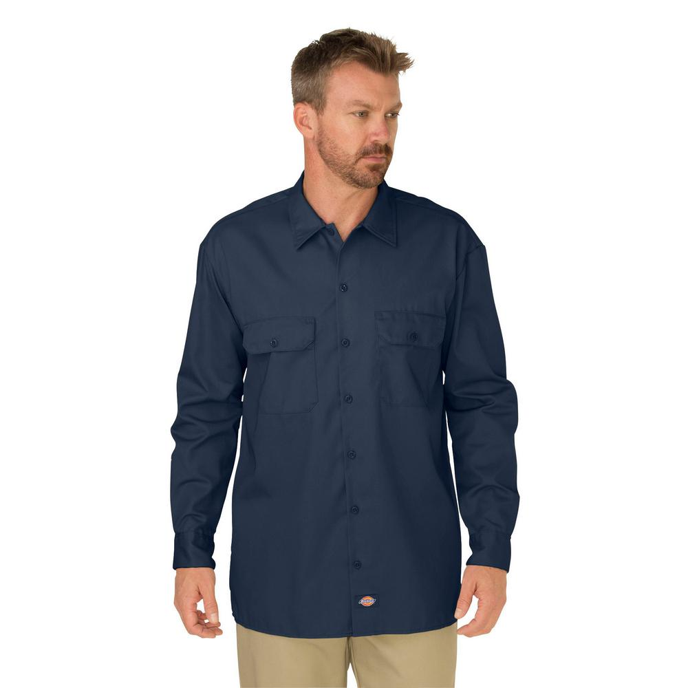82e9acd95e Dickies Men s Large Dark Navy Long Sleeve Work Shirt-574DN - The ...