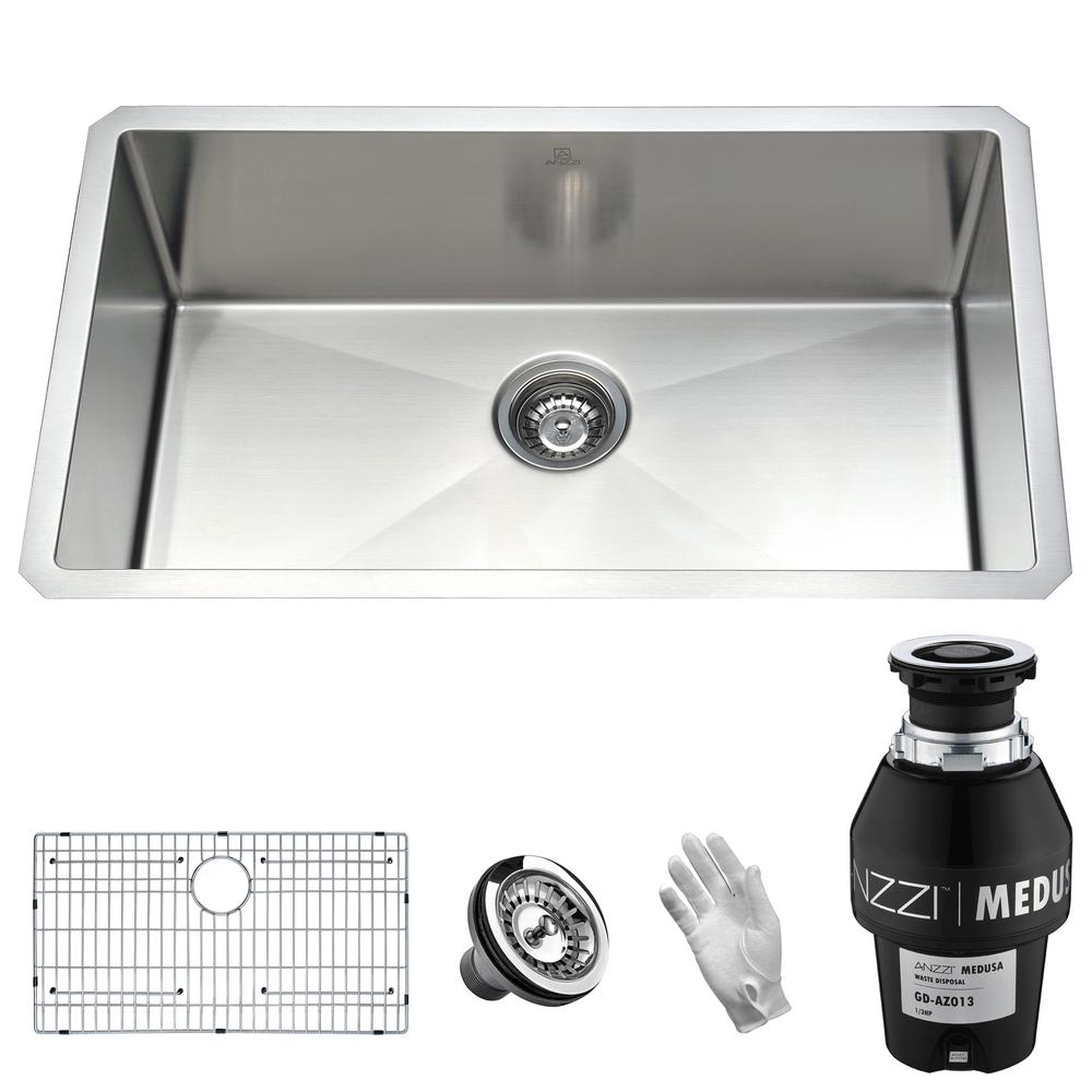 Vanguard Undermount Stainless Steel 30 in. Single Bowl Kitchen Sink with