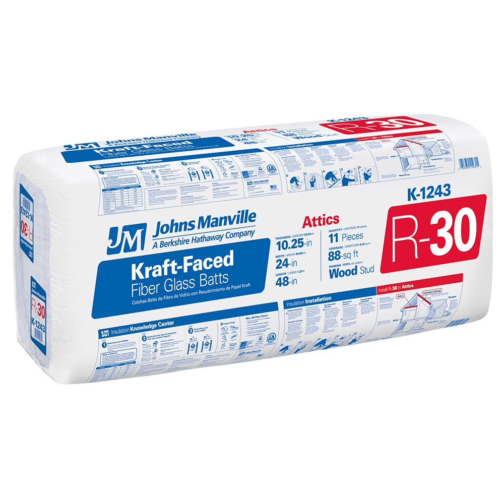 R-30 Kraft Faced Fiberglass Insulation Batt 24 in. x 48 in.